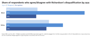Share of respondents who agree/disagree with Richardson's disqualification by race